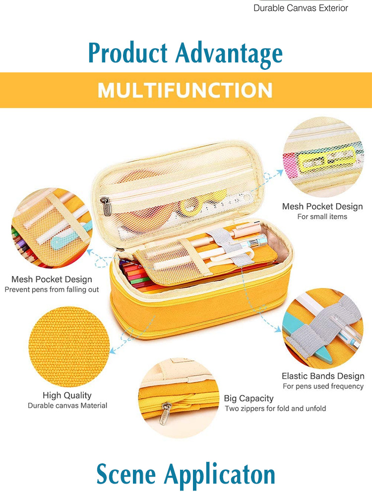 Canvas series large capacity stationery pen case
