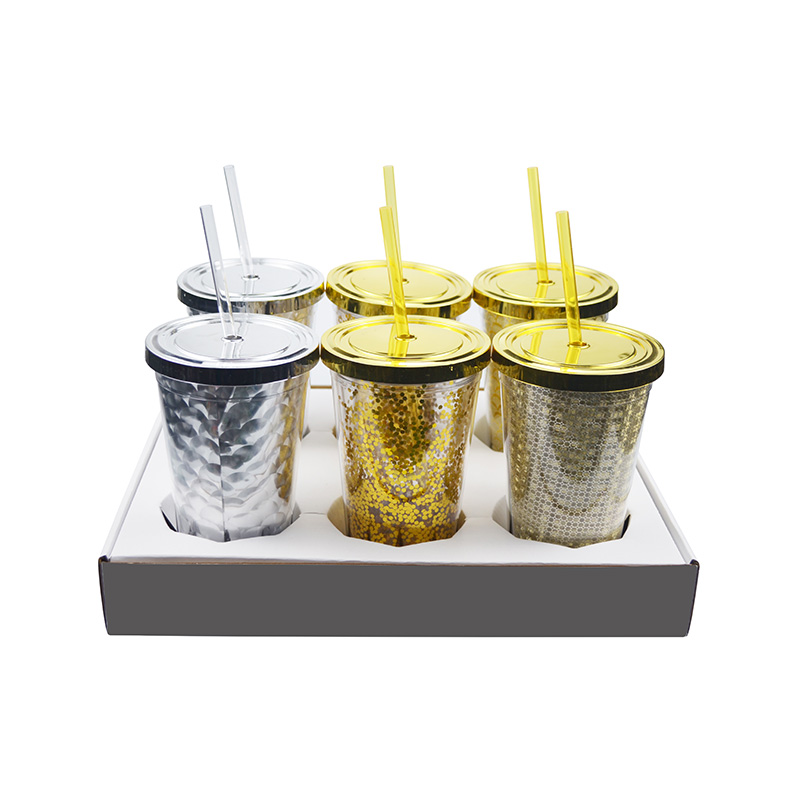 Double Wall Glitter Tumbler with Straw 16OZ