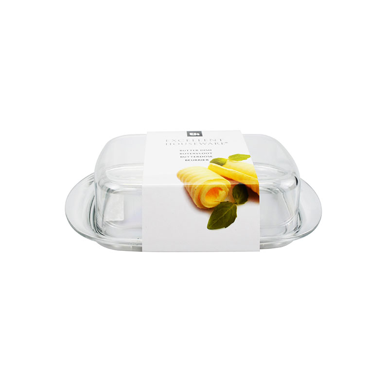 Double-Wide Clear Acrylic Butter Serving Storage Dish with L