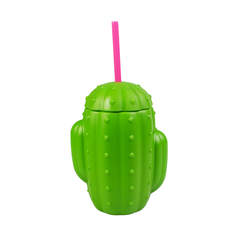 Cactus water cup with straw